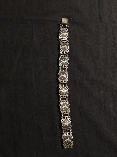 Siam Designer Oxidized Mekhala Goddess Detailed 15mm Wide 8in Long Sterling Silver Link Bracelet