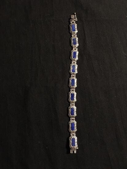 Asian Inspired 10mm Wide 7in Long Signed Designer Sterling Silver Link Bracelet w/ Lapis Inlaid
