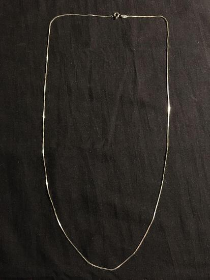 Serpentine Link 1mm Wide 24in Long High Polished Signed Designer Italian Made Sterling Silver Chain