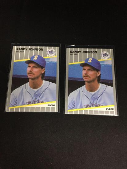 2 Card Lot of 1989 Fleer Update RANDY JOHNSON Mariners ROOKIE Baseball Cards
