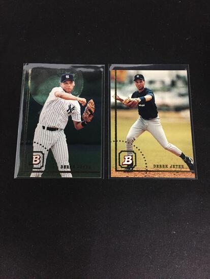 2 Card Lot of 1994 Bowman Derek Jeter Rookie Cards - Regular and FOIL Cards - WOW