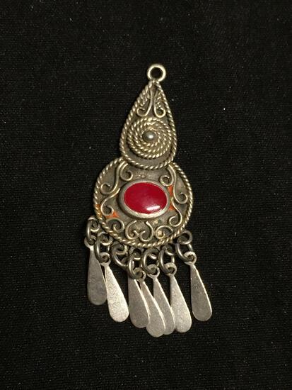 Marsala Designer Handmade East Indian Design w/ Oval 6x4mm Carnelian Onyx Center Sterling Silver