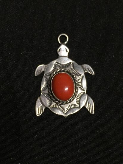 Oval 9x7mm Coral Cabochon Center Hand-Engraved Old Pawn Mexico Tortoise Design Sterling Silver