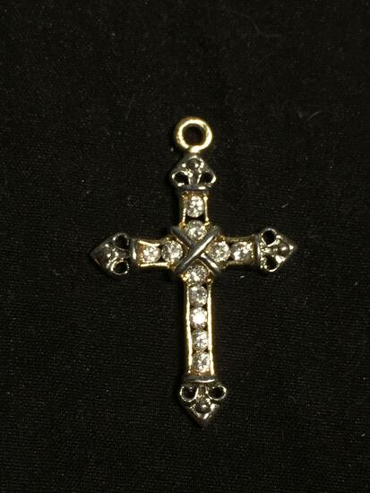 High Polished 35x23mm Round Faceted CZ Accented Filigree Decorated Sterling Silver Cross Pendant