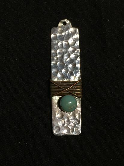 Hammer Finished 40x11mm Rectangular Sterling Silver Handmade Pendant Old Pawn Mexico Pendant w/