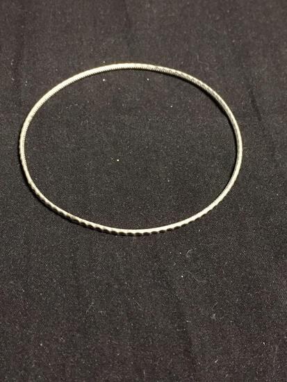 Texture Detailed 1.75mm Wide 3in Diameter Sterling Silver Bangle Bracelet