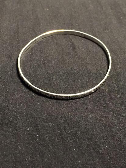 Filigree Decorated 3mm Wide 3in Diameter Sterling Silver Bangle Bracelet