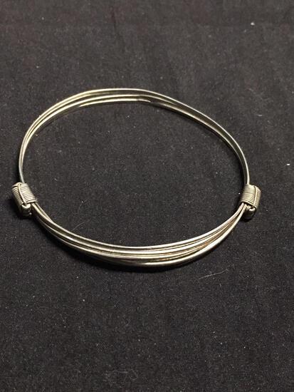 Triple Braided 4mm Wide Handmade Sliding Adjustable Sterling Silver Bangle Bracelet
