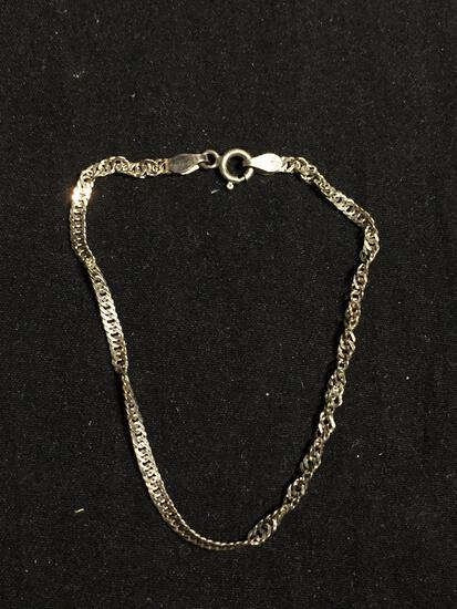 Singapore Curb Link 2.25mm Wide 8in Long Sterling Silver Bracelet