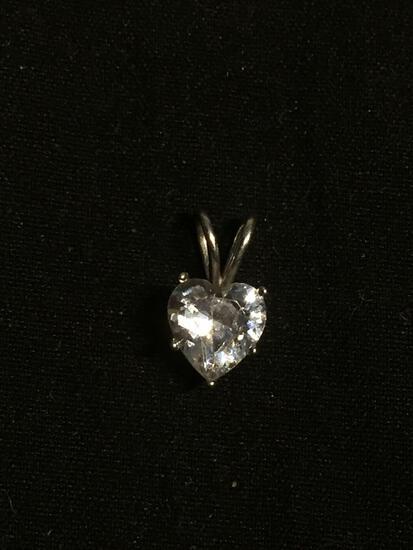 Heart Faceted 6.5x6.5mm CZ Center Sterling Silver Split Bale Solitaire Pendant
