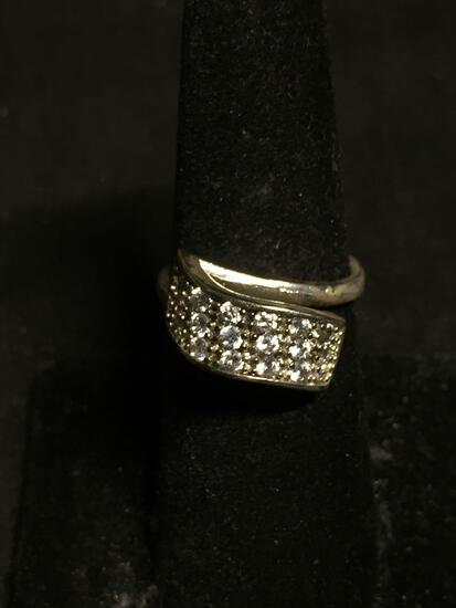 Round Faceted CA Accented 15mm Wide Tapered Bypass Sterling Silver Ring Band