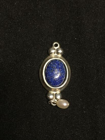 Oval 9x7mm Lapis Cabochon Center Sterling Silver Pendant w/ Seed Pearl Drop