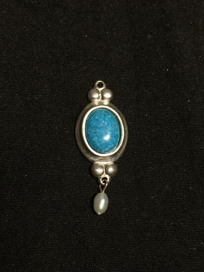 Oval 9x7mm Turquoise Cabochon Center Sterling Silver Pendant w/ Seed Pearl Drop