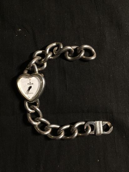 Cheval Designer 28x28mm Heart Shaped Bezel Stainless Steel Watch w/ Bracelet
