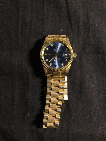 Rolex Style Oyster Perpetual Round 35mm Bezel Gemstone Accented Date-Just Gold-Tone Stainless Steel