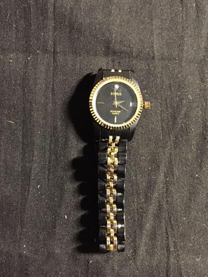 Benrus Designer Round 22mm Gold-Tone Bezel Diamond Quartz Gold & Matte Black Stainless Steel Watch