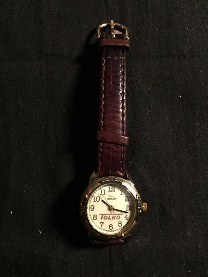 Timex Indiglo Designer Round 25mm Gold-Tone Bezel w/ Date Stainless Steel Watch w/ Black Leather