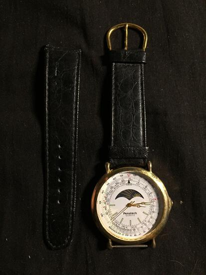Penatech Designer Round 42mm Gold-Tone Bezel Moon Phase Stainless Steel Watch w/ Worn Black Leather