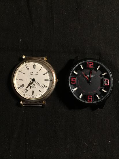 Lot of Two Round 35mm Crystal Face Loose Stainless Steel Watches, One Regimen Designer & One Limited