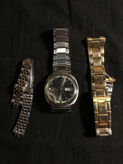 Lot of Three, One Seiko Designer 32mm Bezel Stainless Steel Worn Watch w/ Date & Bracelet, Two