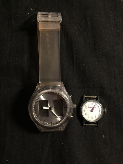 Lot of Two Watches, One Round 32mm Bezel Stainless Steel Watch & Resin Digital Watch & Loose Snow