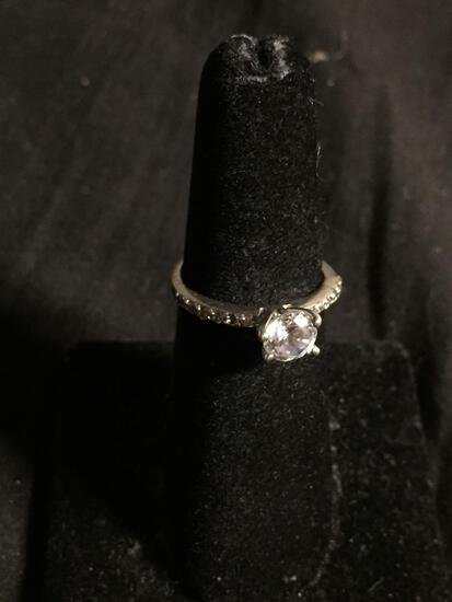 Round 6mm CZ Center w/ Round CZ Accented Shoulders Sterling Silver Engagement Ring Band