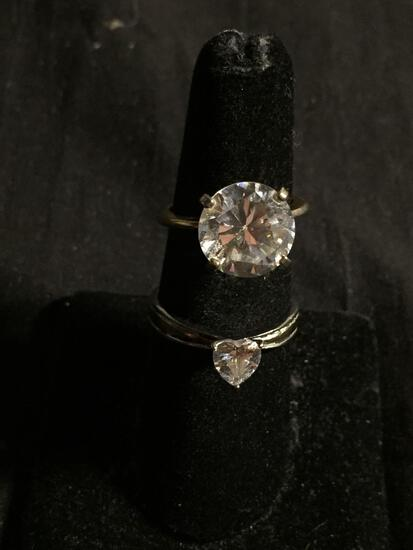 Lot of Two Alloy Engagement Ring Bands, One Gold-Tone w/ Round 11mm CZ & Silver-Tone w/ 5.5mm Heart