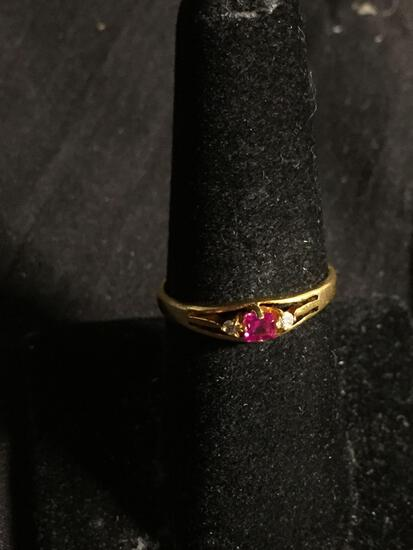 Square Step Faceted 2.5mm Created Pink Sapphire Center w/ CZ Sides 18Kt Gold-Plated Ring Band