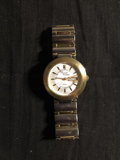 Marcel Drucker Round 36mm Gold-Tone Bezel Stainless Steel Watch w/ Date & Bracelet