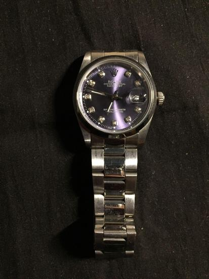 Rolex Style Oyster Perpetual Round 35mm Bezel Gemstone Accented Date-Just Stainless Steel Watch w/