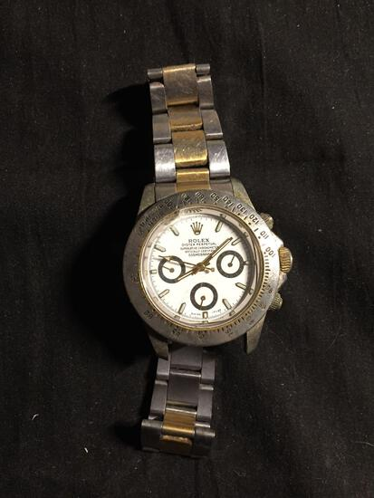 Rolex Style Oyster Perpetual Round 39mm Bezel Two-Tone Cosmograph Stainless Steel Watch w/ Bracelet