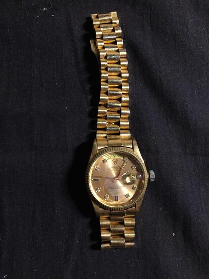Rolex Style Oyster Perpetual Day-Date Round 35mm Bezel Gemstone Accented Face Gold-Tone Stainless