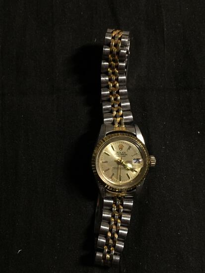 Rolex Style Oyster Perpetual Day-Date Round 25mm Bezel Two-Tone Stainless Steel Watch w/ Bracelet