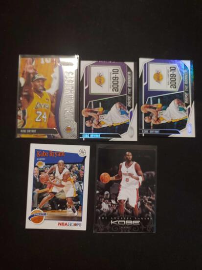 Kobe Bryant card lot of 5