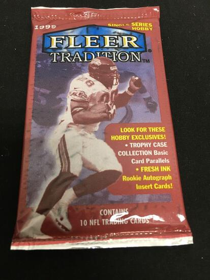 Factory Sealed Pack of 1999 Fleer Tradition Football Cards from Box Break