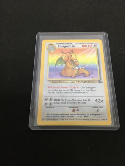 HIGH END Holo Rare Fossil Dragonite Rainbow Foil Pokemon Card 4/62