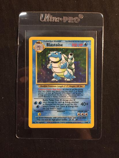 Base Set Unlimited Holo Rare Blastoise 2/102 Pokemon Trading Card