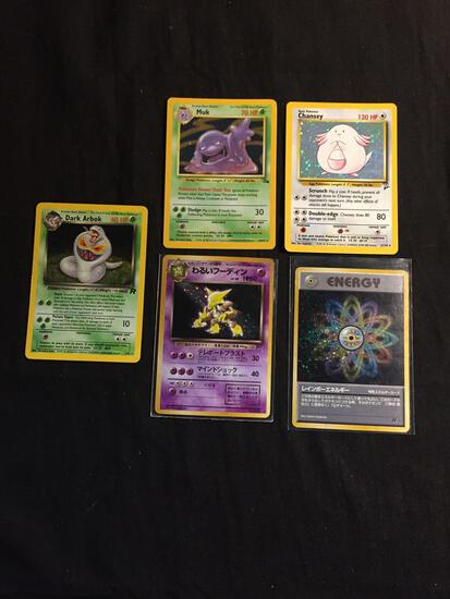 Lot of 5 Vintage Holo Holofoil Pokemon Cards from Collection