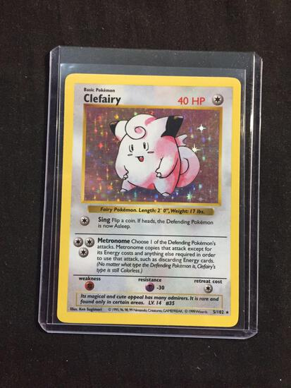 SHADOWLESS Rare Holo Base Set Pokemon Card - Clefairy 5/102