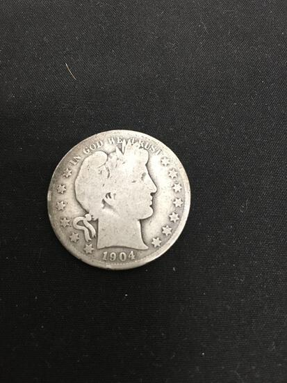 1904-S United States Barber Half Dollar - 90% Silver Coin - 0.361 ASW