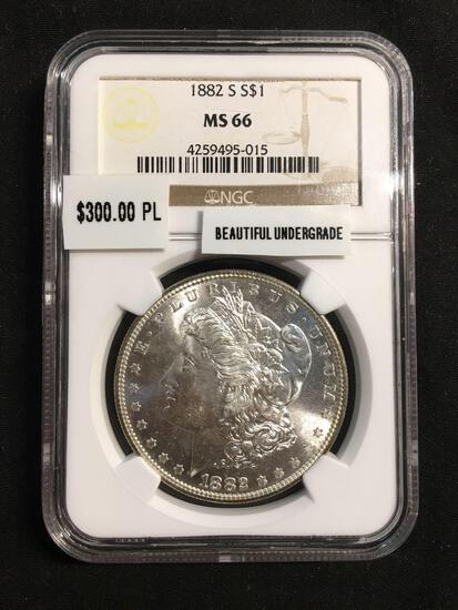 1882-S United States Morgan Silver Dollar - NGC Graded MS 66