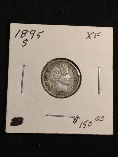1895-S United States Barber Silver Dime - 90% Silver Coin