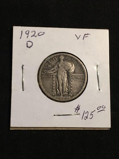 1920-D United States Standing Liberty Silver Quarter - 90% Silver Coin