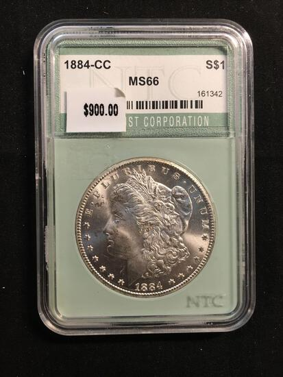 1884-CC United States Morgan Silver Dollar - Carson City - NTC Graded MS 66