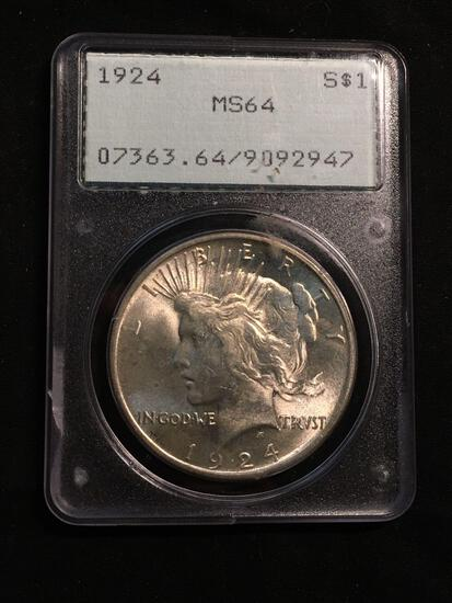 1924 United States Morgan Silver Dollar - PCGS Graded MS 64 - Very Old Label - Cool