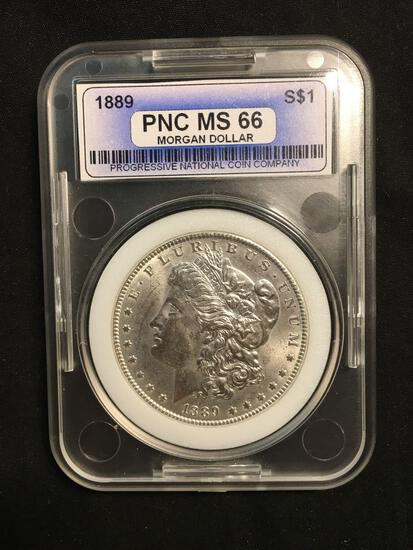 1889-P United States Morgan Silver Dollar - PNC Graded MS 66