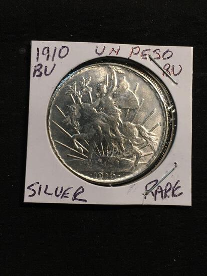 1910 Mexico 1 Peso Silver Foreign Coin