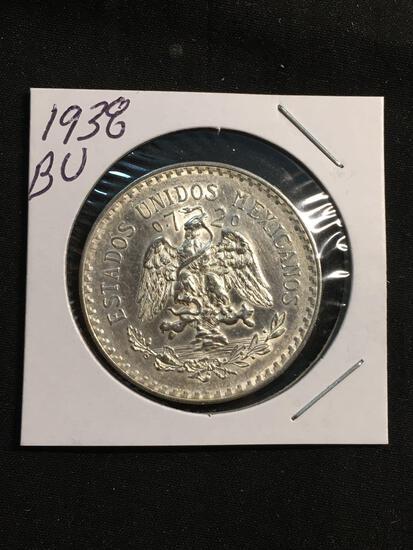 1938 Mexico 1 Peso Silver Foreign Coin