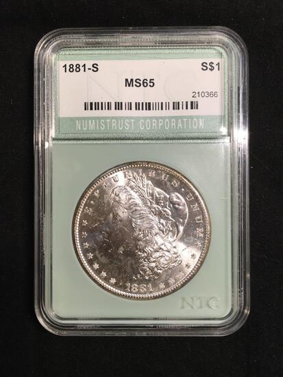1881-S United States Morgan Silver Dollar - NTC Graded MS 65