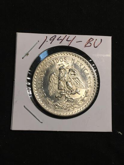1944 Mexico 1 Peso Silver Foreign Coin